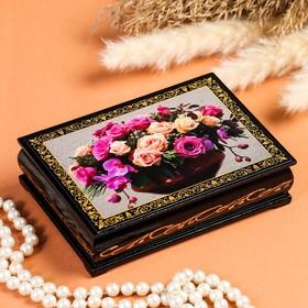 Шкатулка «Орхидеи с розами», 10х14 см, лаковая миниатюра
