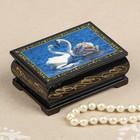Шкатулка «Любящие лебеди», 6х9 см, лаковая миниатюра