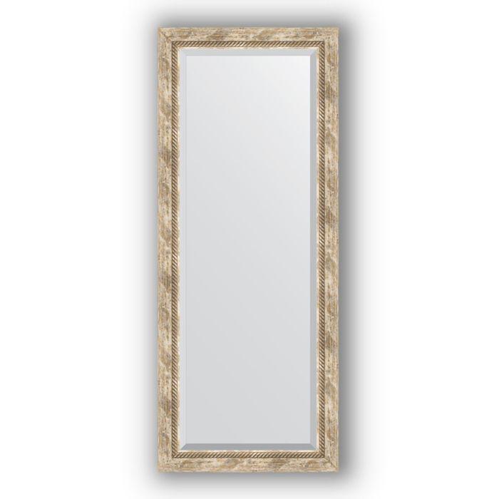 Зеркало с фацетом в багетной раме - прованс с плетением 70 мм, 58 х 143 см, Evoform