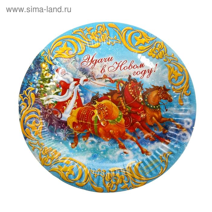 """Тарелка бумажная """"Удачи в Новом году!"""", набор 6 шт., d=18 см"""