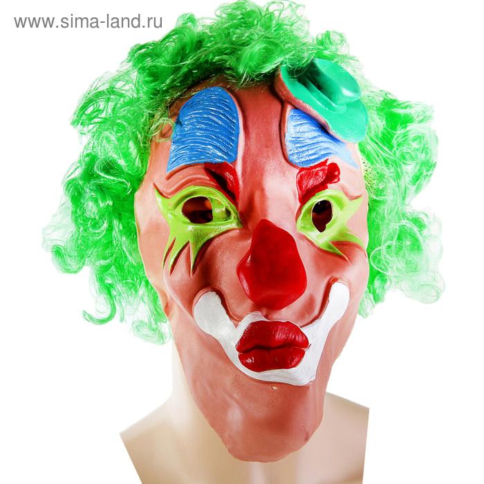 """Маска """"Клоун"""", зеленые волосы, латекс"""
