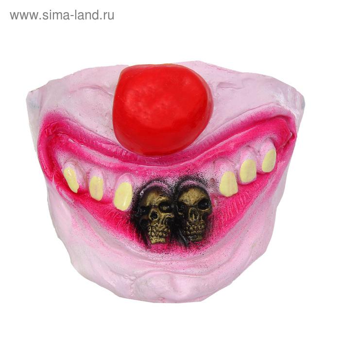 """Полумаска латекс """"Улыбка клоуна"""", два зуба в виде черепа"""