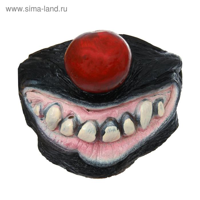 """Полумаска латекс """"Улыбка вампира"""" с красным носом"""