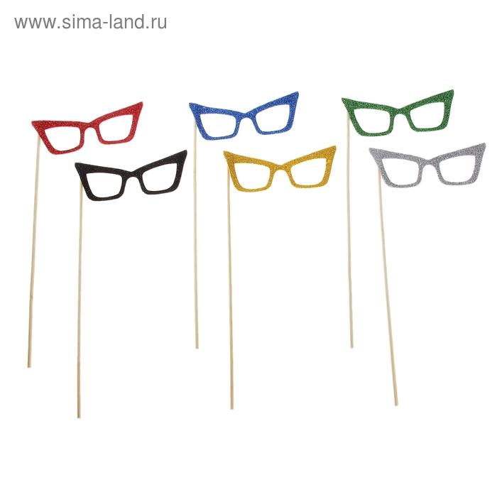 """Аксессуары для фотосессии на палочке очки """"Угрюмые"""", цвета МИКС"""