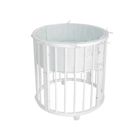 Кроватка-трансформер 6 в 1 MerryHappy круглая/овальная, цвет белый