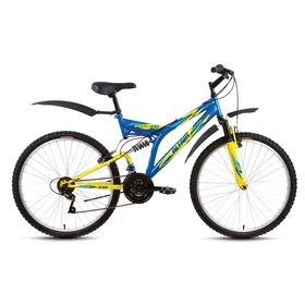 "Велосипед 26"" Altair MTB FS 26, 2017, цвет синий/желтый, размер 18"""