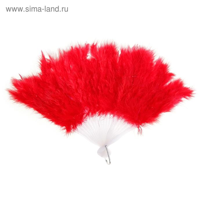 Веер пуховой цвет красный 25см