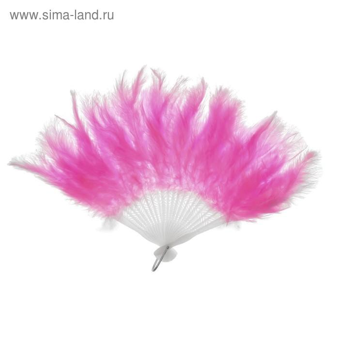 Веер пуховой. цвет розовый 25 см