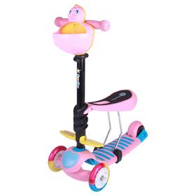 Самокат-каталка 3 в1 ОТ-922, три колеса PU d=120 и 90 мм, световые, ABEC 7, цвет розовый