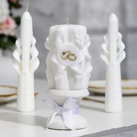 """Набор свечей резных """"Свадебный"""", белый: Домашний очаг, Родительские свечи, подсвечник"""