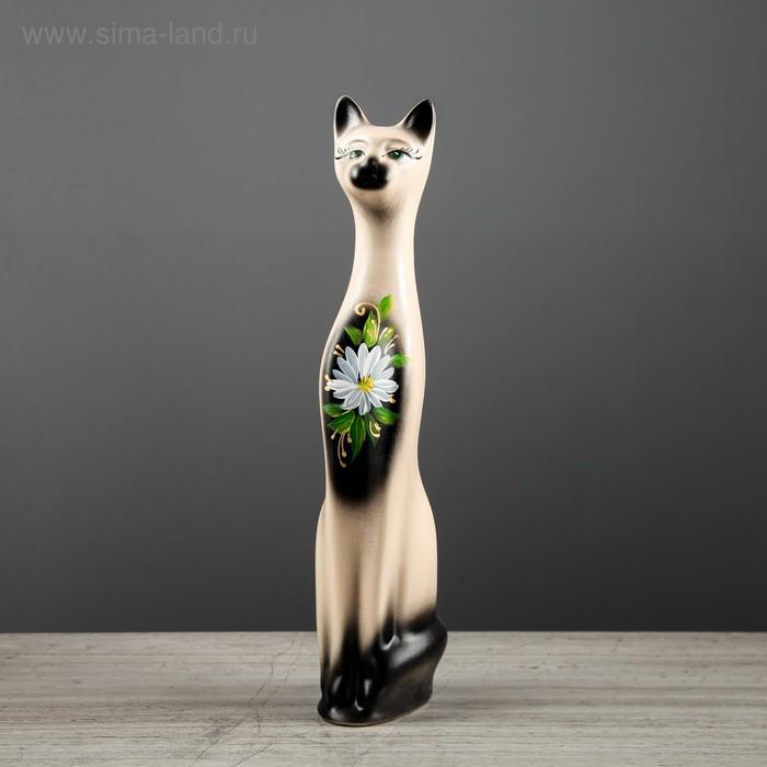 """Копилка """"Кот"""" малая, акрил, бежево-чёрная, ромашка, микс"""