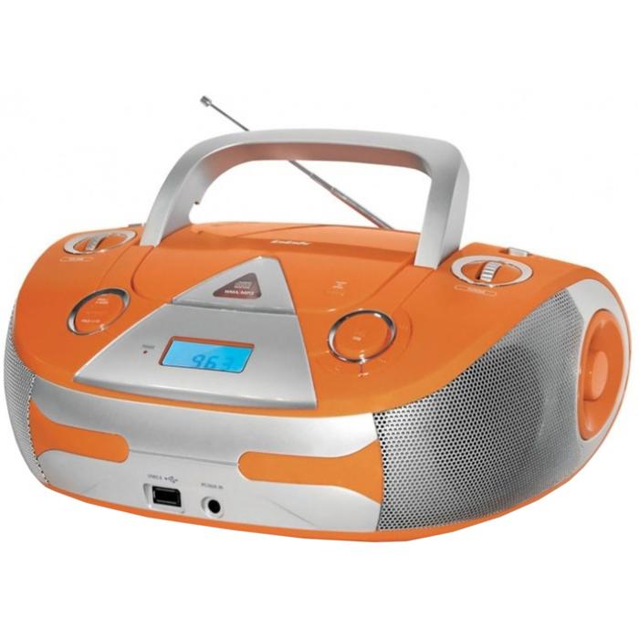 Аудиомагнитола BBK BX325U оранжевая/серебристая 5Вт/CD/CDRW/MP3/FM(an)/USB