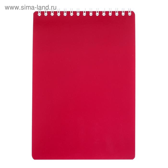 """Блокнот А5, 50 листов на гребне """"Тёмно-красный"""", клетка, обложка мелованный картон"""