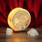 """Соляной светильник """"Круглый"""" ангел, деревянный декор, цельный кристалл"""