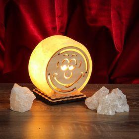 Соляной светильник 'Круглый' малый с узором, 12 х 6 см, деревянный декор, цельный кристалл Ош