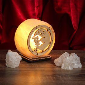 Соляной светильник 'Круглый' малый с узором №4, 12 х 6 см, деревянный декор, цельный кристалл Ош