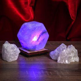 Соляной светильник USB 'Радуга ГАЙКА', цветной, цельный кристалл Ош