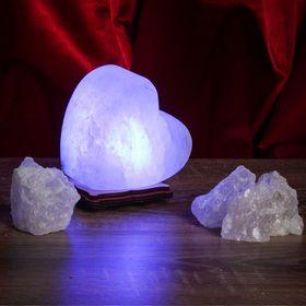 Соляной светильник USB 'Радуга СЕРДЦЕ', 8х8 см, цветной, цельный кристалл Ош