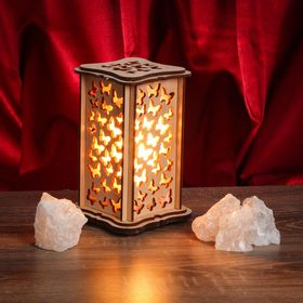 Соляной светильник 'Бабочки' малый 15 x 10 см, деревянный декор Ош