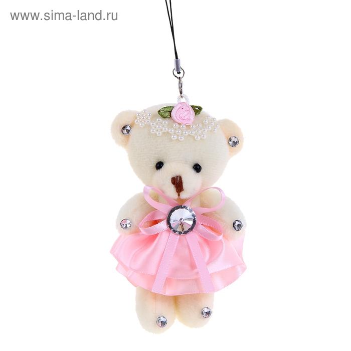 """Мягкая игрушка-подвеска """"Мишка в платье"""", цвет розовый"""