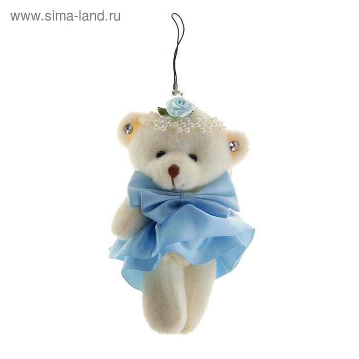 """Мягкая игрушка-подвеска """"Мишка в платье"""" с бантиком, цвет голубой"""