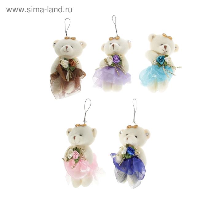 """Мягкая игрушка-подвеска """"Мишка в платье"""" с цветами в бусинках, цвета МИКС"""