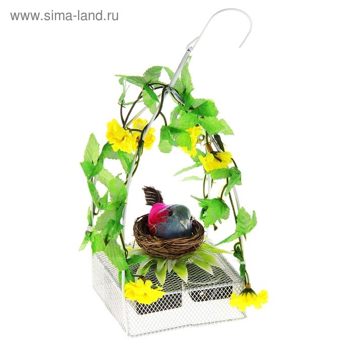 """Сувенир музыкальный """"Птичка в домике с цветами"""", световой"""