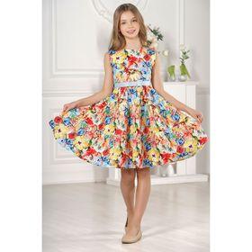 Платье для девочки family look  разноцветное, р-р 28, рост 98 см