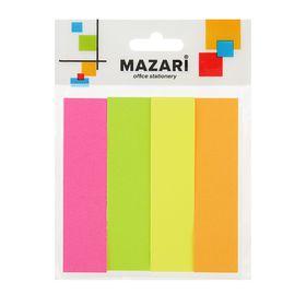 Флажки с клеевым краем 19x76мм MAZARi, 4 блока по 100 листов, 4 цвета Ош