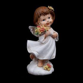 "Сувенир полистоун ""Ангелочек Марфа с цветочками"" МИКС 10,5х5,5х5 см"
