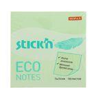 Блок с липким краем 76x76мм, 100 листов Hopax ECO, пастель зеленая