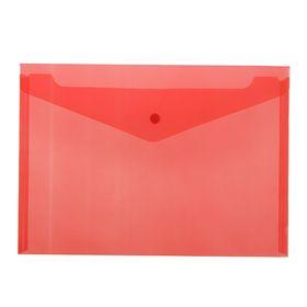 Папка-конверт на кнопке А4 BASIC 120мкм, красная Ош