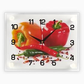 Часы настенные прямоугольные 'Перцы', 20х26 см Ош