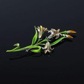 Брошь 'Нерине', цветная в чернёном серебре Ош