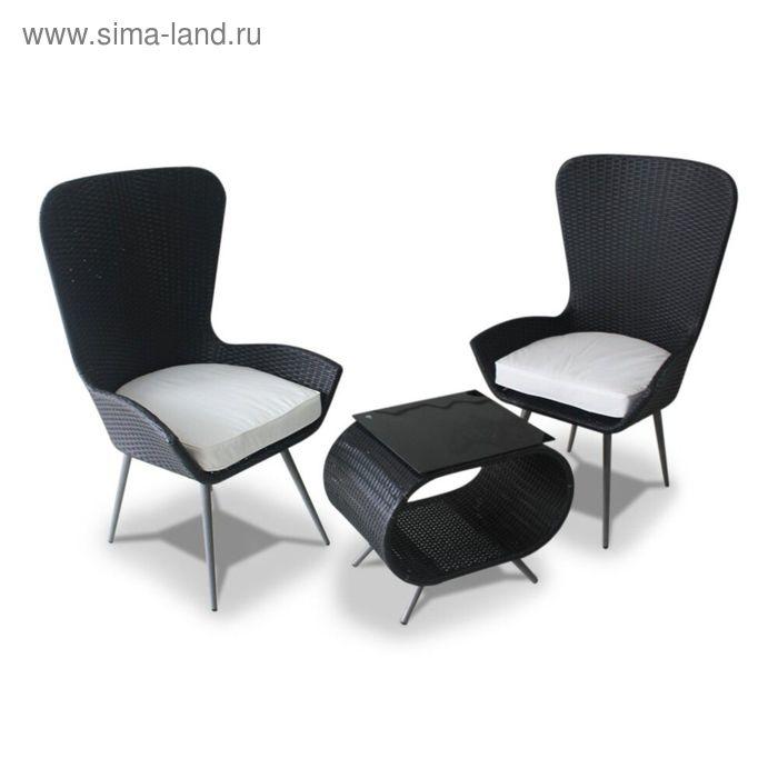 Комплект мебели из 2х стульев и кофейного столика, иск. ротанг, чёрный/серый