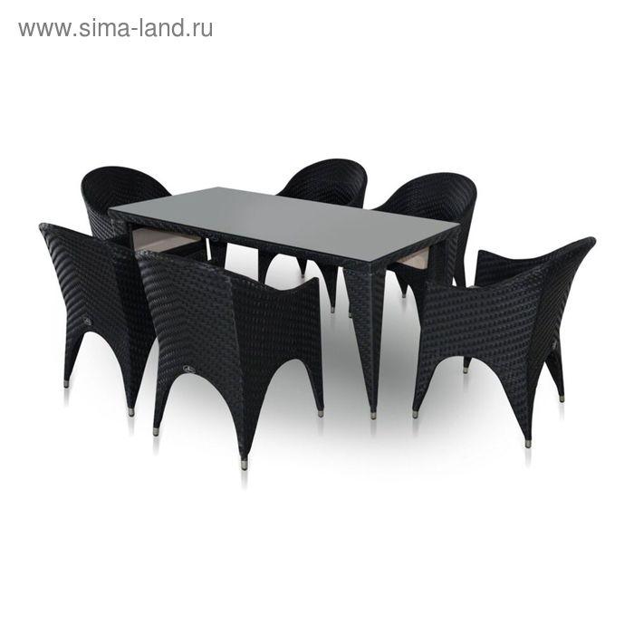 Комплект мебели на 6 персон, чёрный