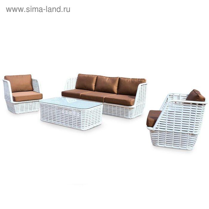 Комплект мебели на  5 персон, иск. ротанг, белый/коричневый