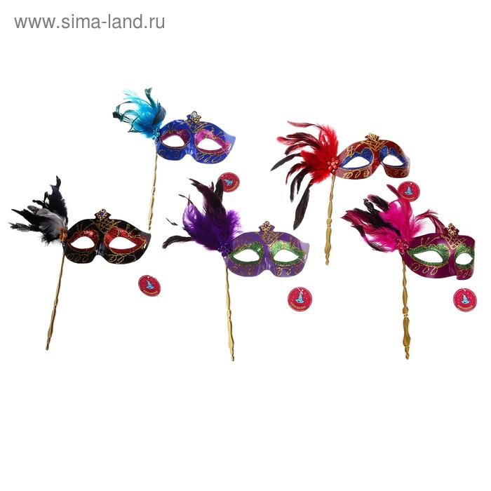"""Карнавальная маска перо на палке """"Маскарад"""",цвета МИКС"""