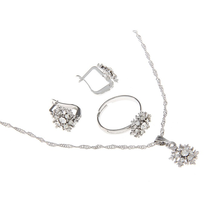 """Гарнитур 3 предмета: серьги, кулон, кольцо безразмерное """"Эдель"""" снежинка, в серебре"""