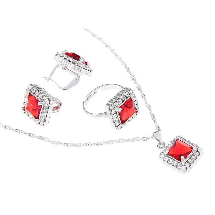 """Гарнитур 3 предмета: серьги, кулон, кольцо безразмерное """"Эдель"""" квадрат красный в серебре"""