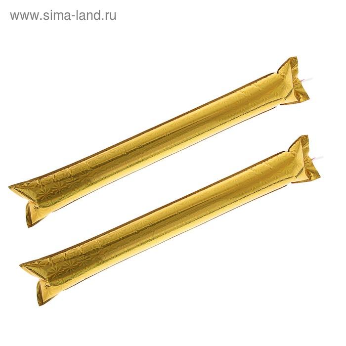 """Палка """"Болельщик"""" с палочкой для надувания (набор 2 шт.), цвет: золотой"""