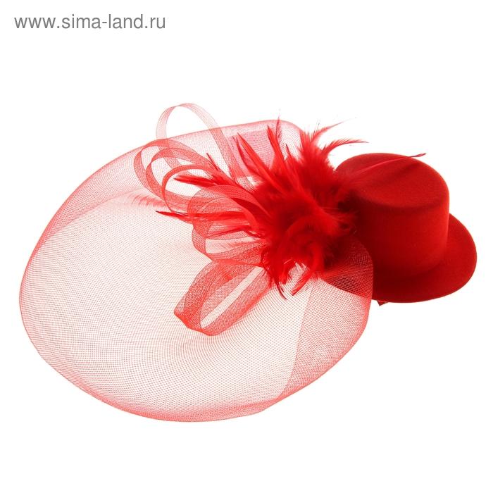 Карнавальный зажим шляпка и вуалетка перья, цвет красный