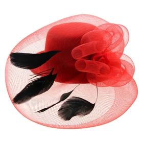 Карнавальный зажим шляпка и вуалетка, цвет красный