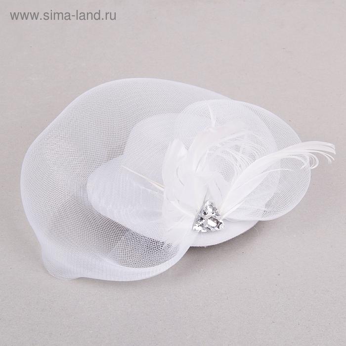 Карнавальный зажим шляпка и вуалетка камень , цвет белый