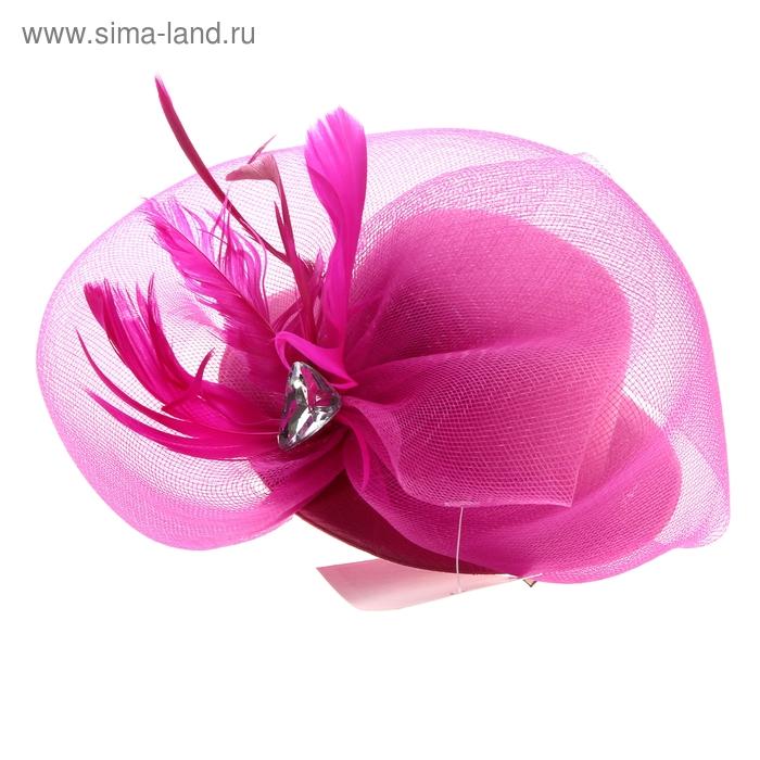 Карнавальный зажим шляпка и вуалетка камень, цвет розовый