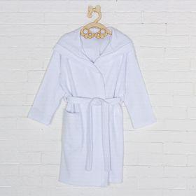 Халат махровый с капюшоном для девочки, рост 110 см, цвет белый 09805-19