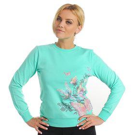 """Толстовка женская KAFTAN """"Бабочки"""", цвет зелёный, размер XS(42), хлопок 100%"""