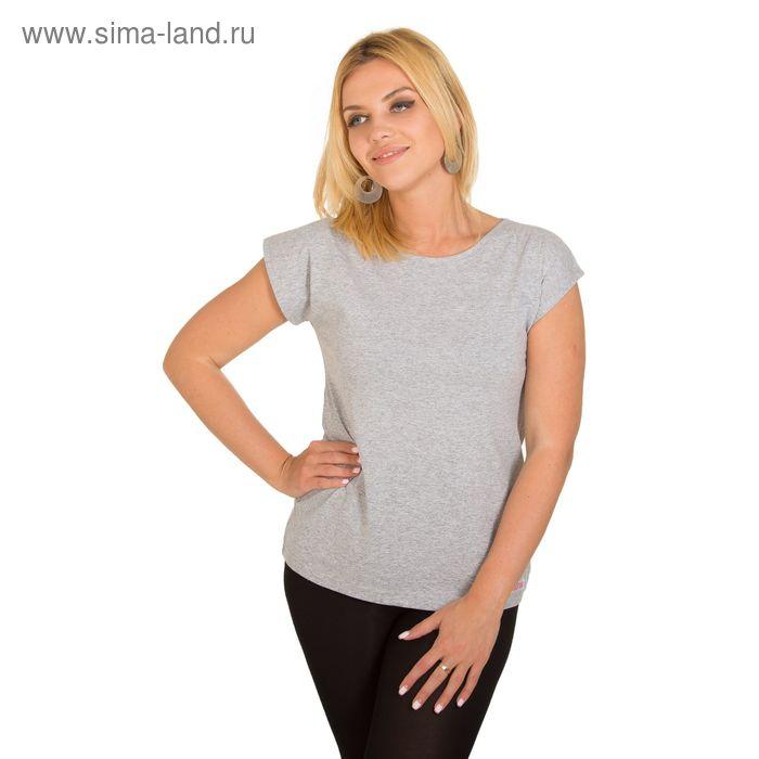 Футболка женская KAFTAN с коротким рукавом, цвет меланж, размер S(44), хлопок 100%