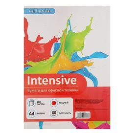 Бумага цветная А4, 100 листов Calligrata Intensive, 80г/м2, красная