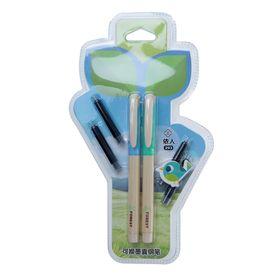 Ручка перьевая 2шт + 4шт синих картриджа на блистере